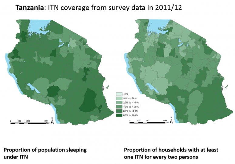 Map of ITN coverage in Tanzania
