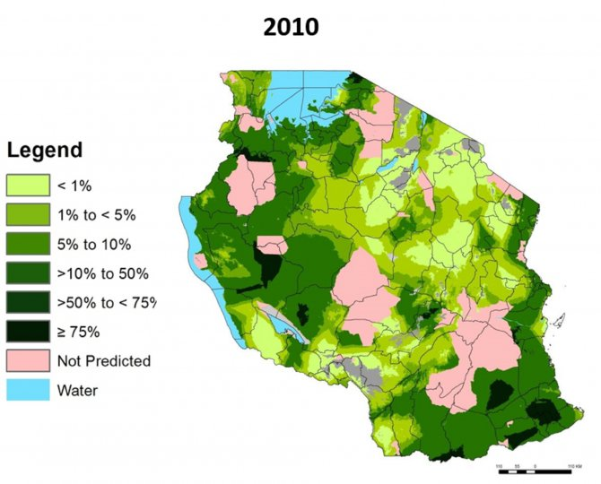 Map of malaria prevalence 2010