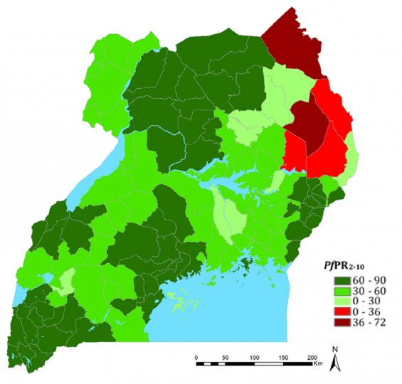 Percent prevalence increase or decrease by district between 2009 and 2014/15